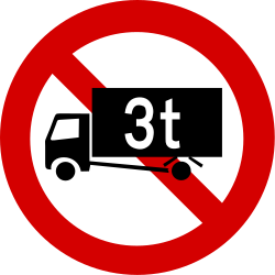 Traffic sign of Ireland: Trucks heavier than indicated prohibited