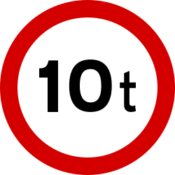 Traffic sign of Ireland: Vehicles heavier than indicated prohibited