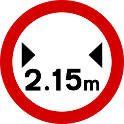 Traffic sign of Ireland: Vehicles wider than indicated prohibited