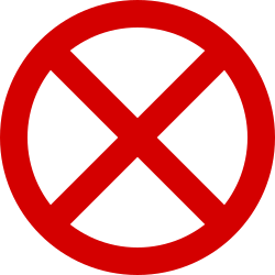 Traffic sign of Ireland: Parking and stopping prohibited