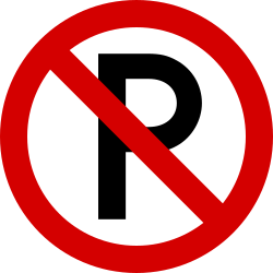 Traffic sign of Ireland: Parking prohibited
