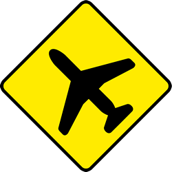 Traffic sign of Ireland: Warning for low-flying aircrafts