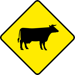 Traffic sign of Ireland: Warning for cattle on the road