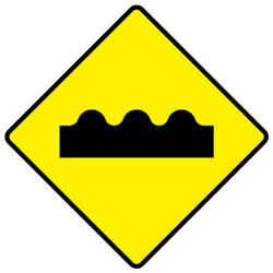 Traffic sign of Ireland: Warning for a bad road surface