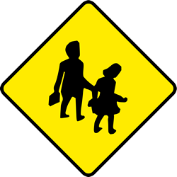 Traffic sign of Ireland: Warning for children