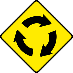 Traffic sign of Ireland: Warning for a <a href='/en/ireland/overview/roundabout'>roundabout</a>