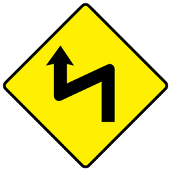 Traffic sign of Ireland: Warning for a <b>double curve</b>, first left then right