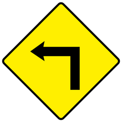 Traffic sign of Ireland: Warning for a <b>sharp curve</b> to the left