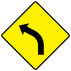 Traffic sign of Ireland: Warning for a curve to the left