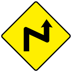 Traffic sign of Ireland: Warning for a double curve, first right then left