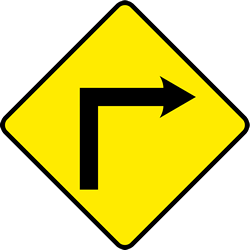 Traffic sign of Ireland: Warning for a sharp curve to the right