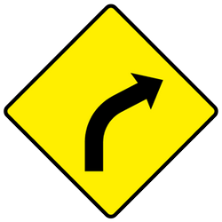 Traffic sign of Ireland: Warning for a curve to the right