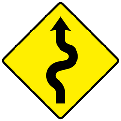Traffic sign of Ireland: Warning for curves