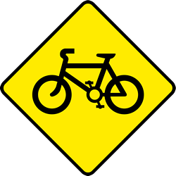 Traffic sign of Ireland: Warning for cyclists