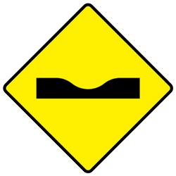 Traffic sign of Ireland: Warning for a dip in the road