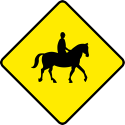Traffic sign of Ireland: Warning for equestrians