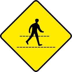Traffic sign of Ireland: Warning for a crossing for pedestrians