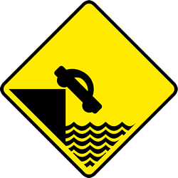 Traffic sign of Ireland: Warning for a quayside or riverbank