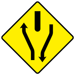 Traffic sign of Ireland: Warning for a divided road