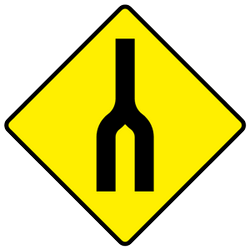 Traffic sign of Ireland: Warning for two roads that <b>merge</b>