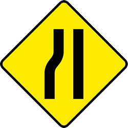 Traffic sign of Ireland: Warning for a road <b>narrowing</b> on the left