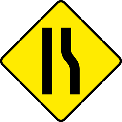 Traffic sign of Ireland: Warning for a road <b>narrowing</b> on the right