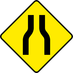 Traffic sign of Ireland: Warning for a road narrowing