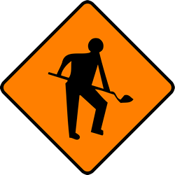 Traffic sign of Ireland: Warning for roadworks