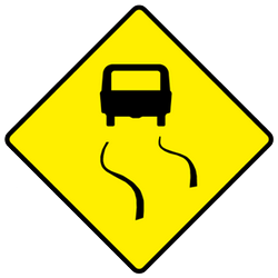 Traffic sign of Ireland: Warning for a slippery road surface