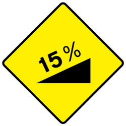 Traffic sign of Ireland: Warning for a steep ascent