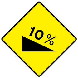 Traffic sign of Ireland: Warning for a steep descent
