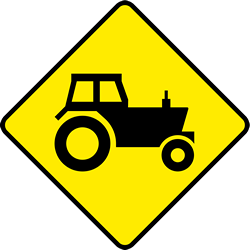 Traffic sign of Ireland: Warning for tractors