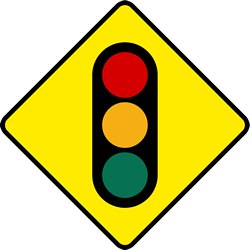 Traffic sign of Ireland: Warning for a traffic light