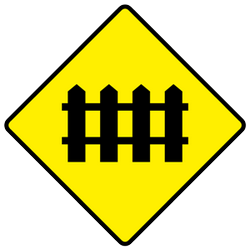 Traffic sign of Ireland: Warning for a railroad crossing with barriers