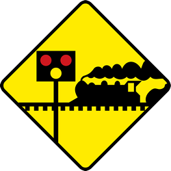 Traffic sign of Ireland: Warning for a <a href='/en/ireland/overview/railroad-crossing'>railroad crossing</a> <b>without</b> <a href='/en/ireland/overview/barrier'>barriers</a>