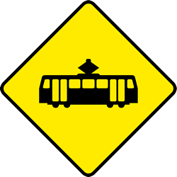 Traffic sign of Ireland: Warning for trams