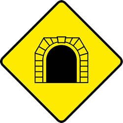 Traffic sign of Ireland: Warning for a tunnel