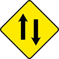 Traffic sign of Ireland: Warning for a road with <b>two-way traffic</b>
