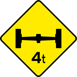 Traffic sign of Ireland: Warning for a limited axle weight