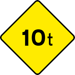 Traffic sign of Ireland: Warning for a limited weight
