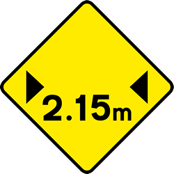 Traffic sign of Ireland: Warning for a limited width