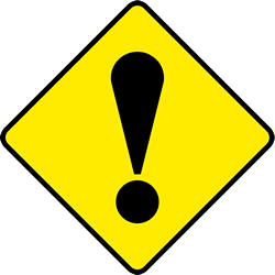 Traffic sign of Ireland: Warning for a danger with no specific traffic sign