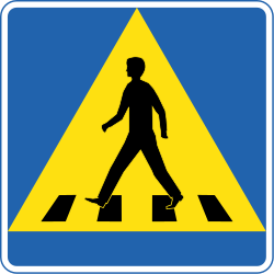 Traffic sign of Iceland: Crossing for pedestrians