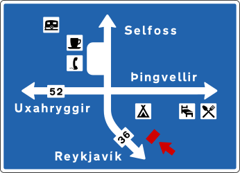Traffic sign of Iceland: Information about the directions of the crossroad