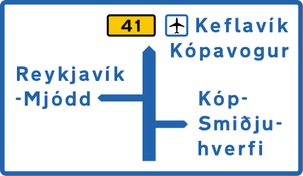 Traffic sign of Iceland: Information about the destination of the ramp