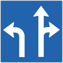 Traffic sign of Iceland: Overview of the lanes and their direction