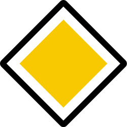 Traffic sign of Iceland: Begin of a priority road
