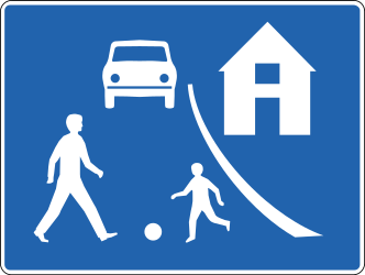 Traffic sign of Iceland: Begin of a residential area