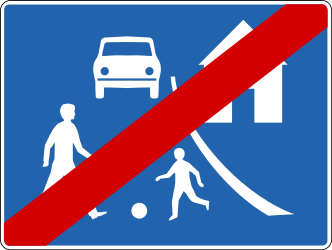 Traffic sign of Iceland: End of the residential area