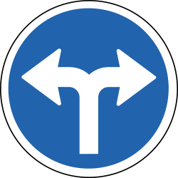 Traffic sign of Iceland: Turning left or right mandatory